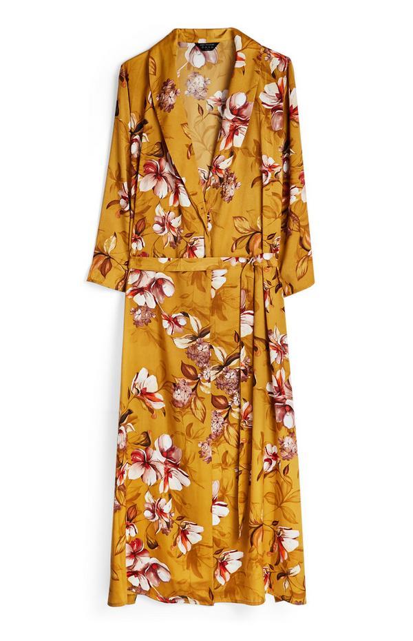 Robe de chambre longue moutarde à fleurs en satin