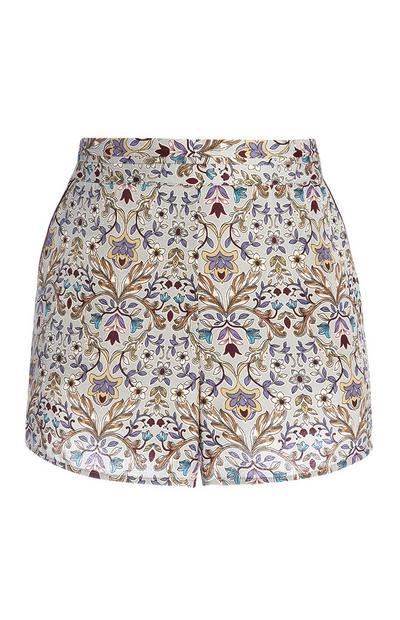 Satenast spodnji del pižame s cvetličnim vzorcem