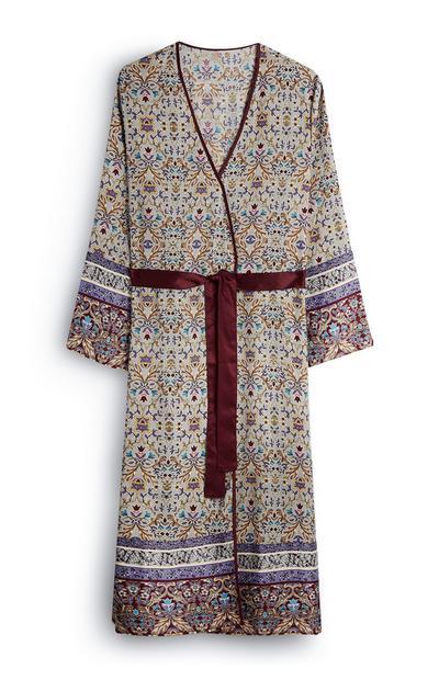 Long Floral Satin Robe