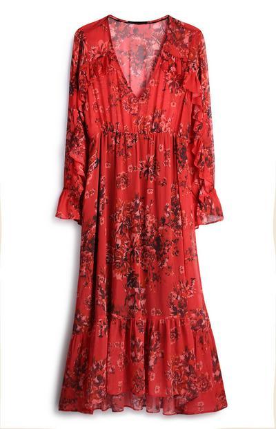 Robe mi-longue rouge à fleurs