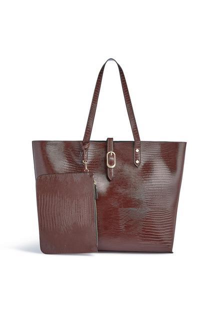 Bolso tote marrón con estampado de efecto piel de cocodrilo