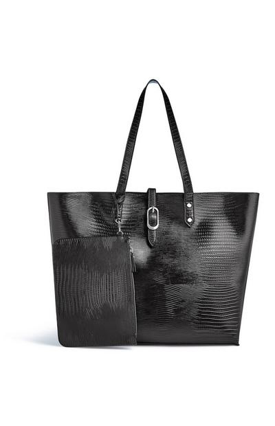 Black Croc Tote Bag