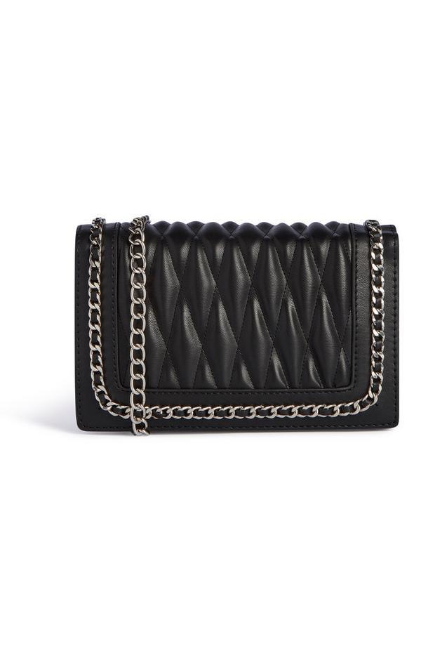 Zwarte schoudertas met quiltmotief