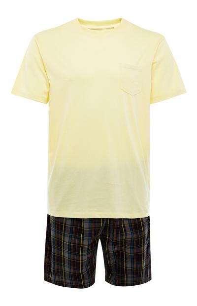 Yellow And Check Poplin Short Pyjamas Set