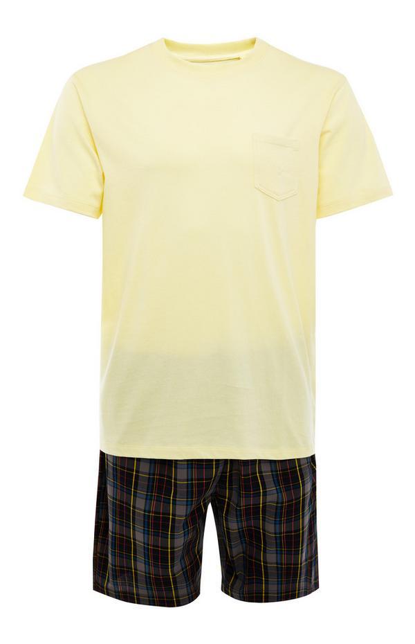 Pyjama jaune en popeline avec short à carreaux