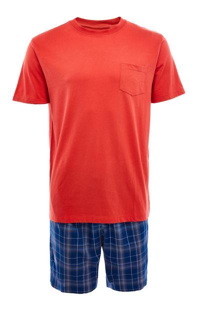 Pijama corto de popelina en rojo y cuadros escoceses azul marino