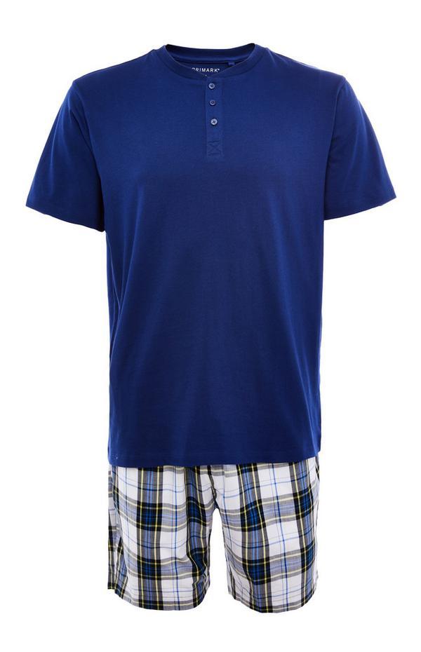 Pyjama bleu en popeline avec short à motif écossais