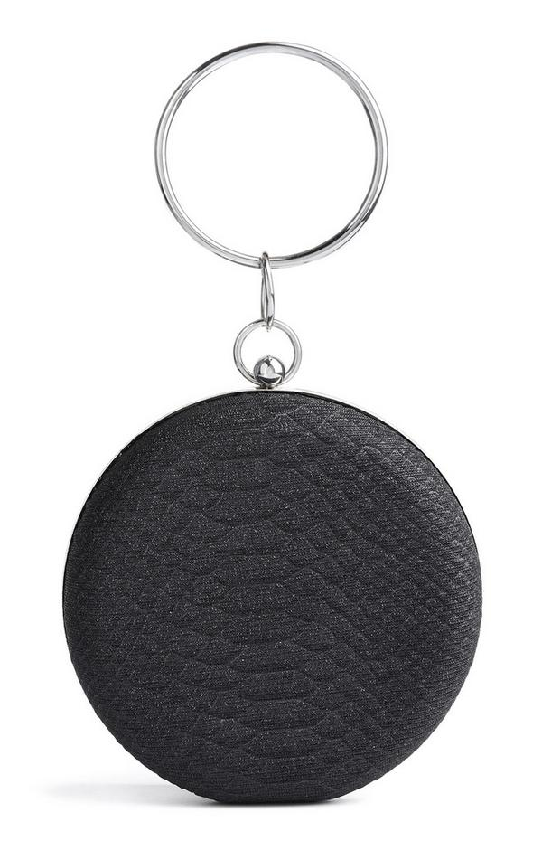 Mala clutch circular preto