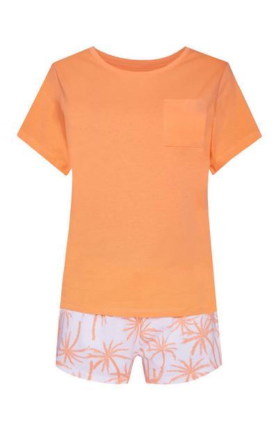 Pigiama corto arancione e bianco con stampa palme