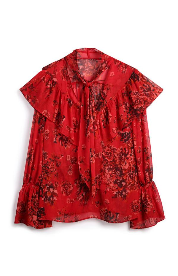 Red Floral Ruffle Sleeve Blouse