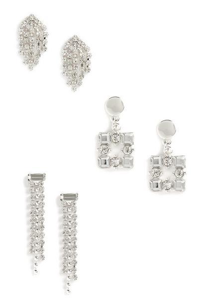 3-Pack Diamante Earrings