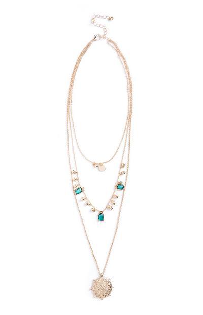 Večslojna ogrlica z draguljčki