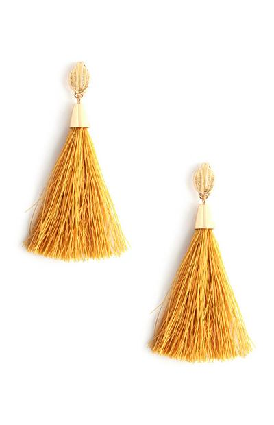 Mustard Tassle Stud Earrings
