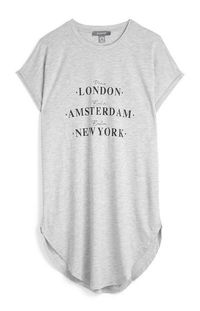 Grijs gemêleerd T-shirt met namen van steden