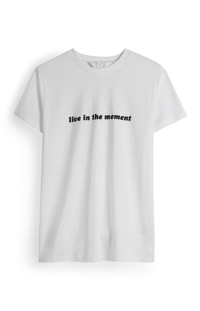 Wit T-shirt Live In The Moment