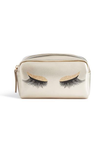 Gold Eyelashes Makeup Bag