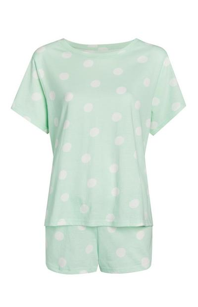 Mint Polka Dot Pajama Shorts Set