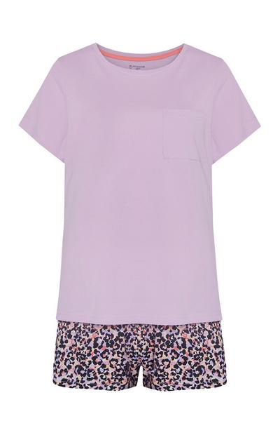 Purple Leopard Print Pajama Shorts And Solid Matching Top