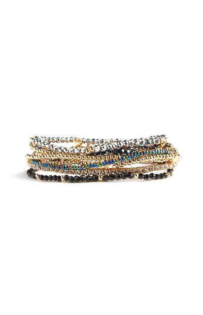 6 bracciali con perline