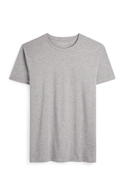 Camiseta gris jaspeado de manga corta y cuello redondo