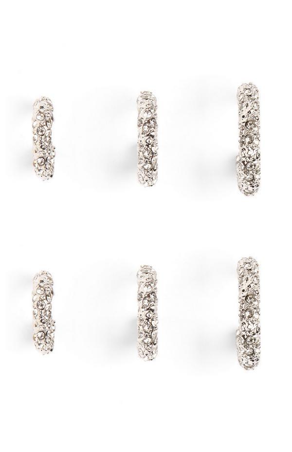 Ringen met stras, 3 paar