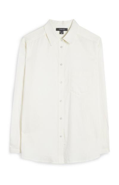 Krem srajca z dolgimi rokavi in gumbi