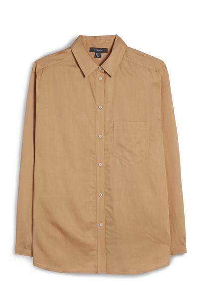 Camelkleurig overhemd met knoopsluiting en lange mouwen