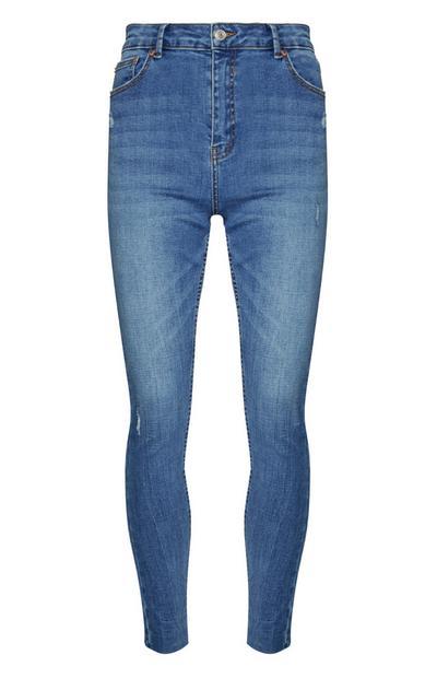 Mittelblaue High-Waist-Skinny-Jeans