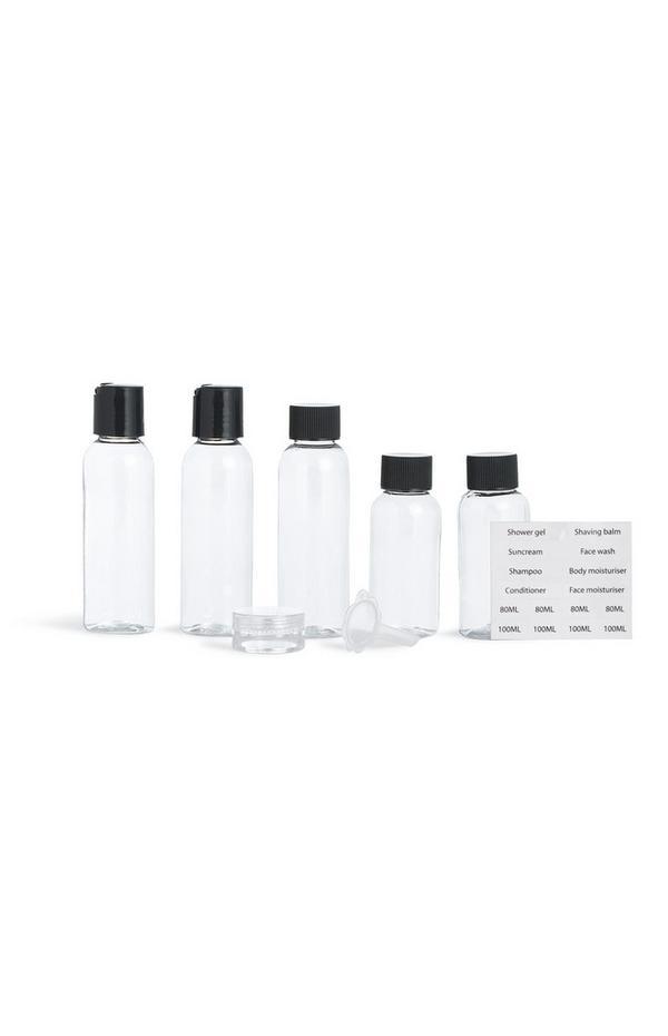Set de botellas y etiquetas de viaje