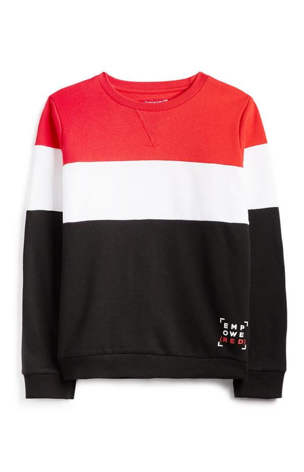 Pulover z rdečim, belim in črnim barvnim blokom in logom RED