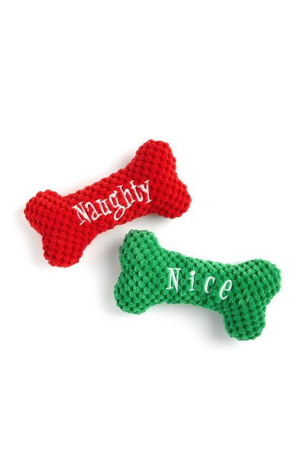 Red And Green Naughty Or Nice Toy Bone