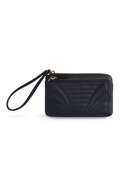 Črna torbica z dvojno zadrgo