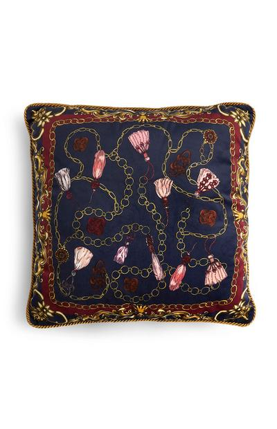Navy Chain Print Square Cushion
