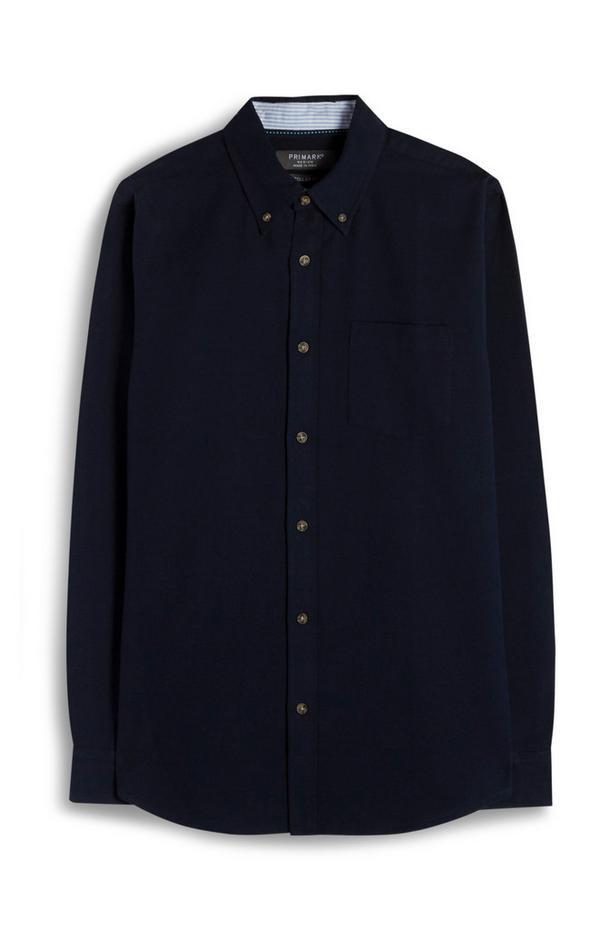 Camisa Oxford azul marino de primera calidad