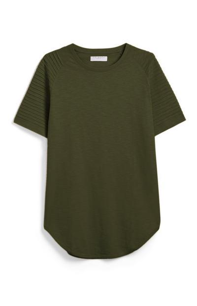 Khaki Biker Raglan T-Shirt