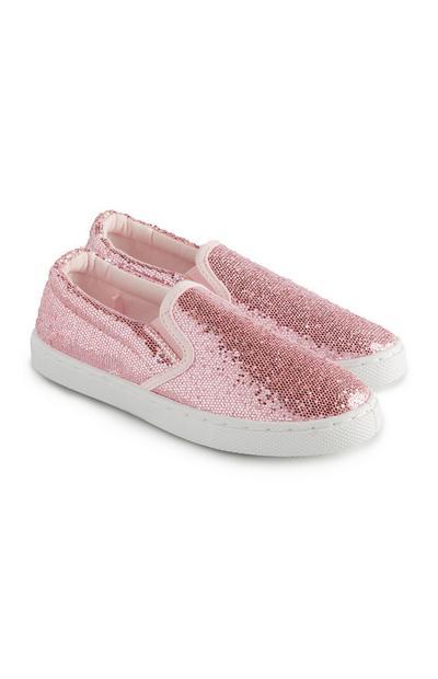 Zapatos planos rosas con purpurina