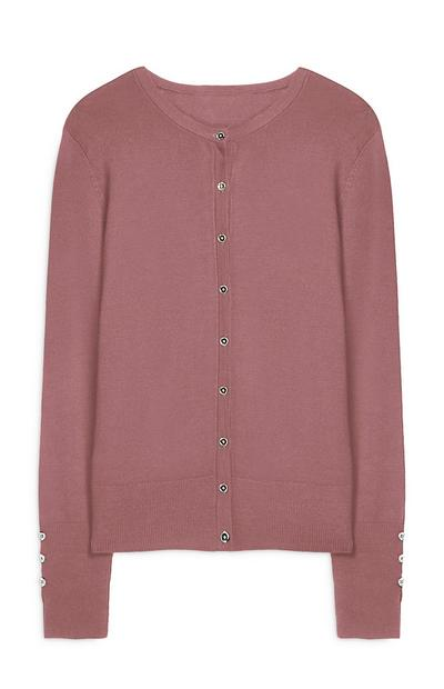 Pink Crew Neck Button Up Cardigan