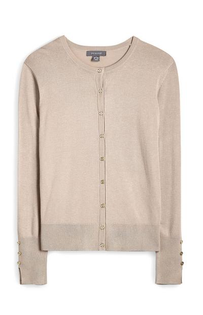 Taupe Crew Neck Button Up Cardigan