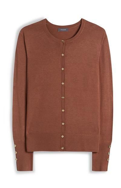 Brown Crew Neck Button Up Cardigan