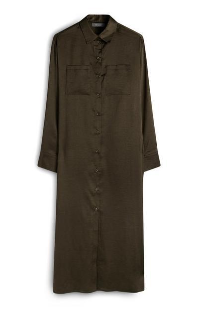 Khaki Satin Midaxi Shirt Dress