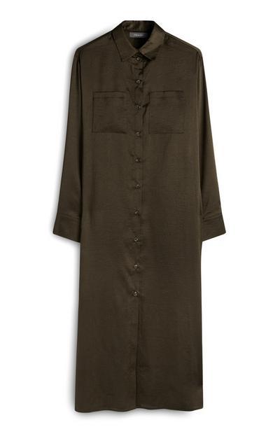 Khaki Long Satin Button Up Shirt Dress