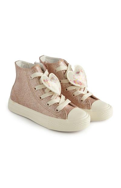Pink Glittery Heart High Top Trainers