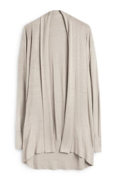 Grey Casual Draped Cardigan