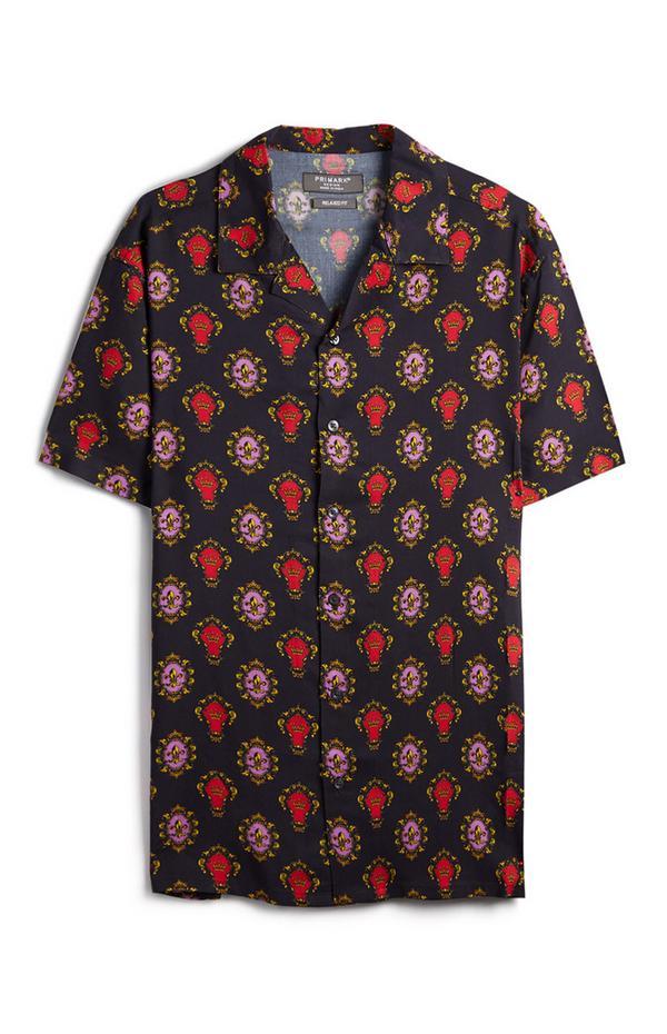 Donkerblauw overhemd met patroon en knoopjes