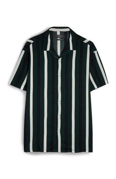 Camisa viscose riscas verticais verde/preto/branco