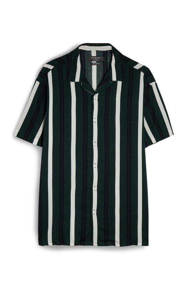 Green Black And White Vertical Stripe Viscose Shirt