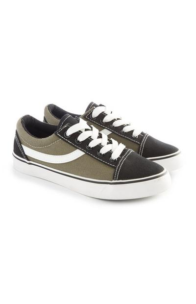Older Boy Black And Khaki Contrast Skater Trainers