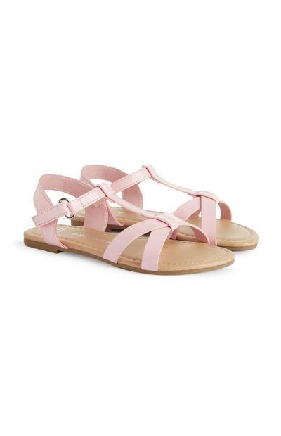 Sandálias tiras menina cor-de-rosa