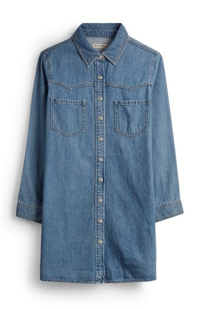 Mid Blue Denim Shirt Dress