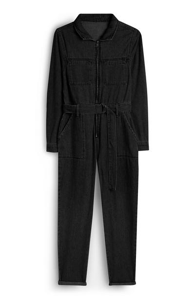 Black Denim Belted Jumpsuit